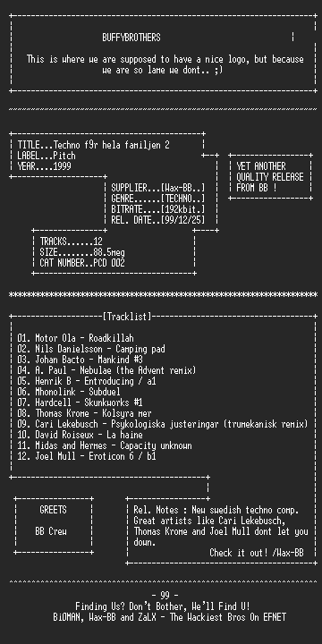 NFO file for VA_-_Techno_for_Hela_Familjen_2(1999)-BB