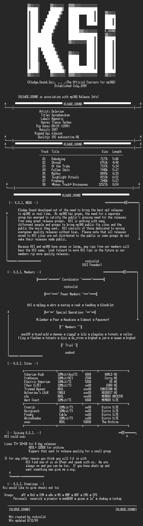 NFO file for Delerium-Syrophenikan-1997-KSi