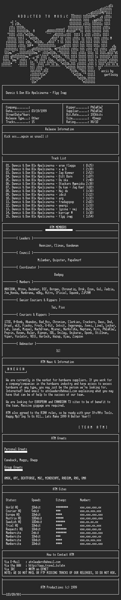 NFO file for Dennis_och_Dom_Bla_Apelsinerna_-_Flyg_Ivag_-_1995_-_ATM