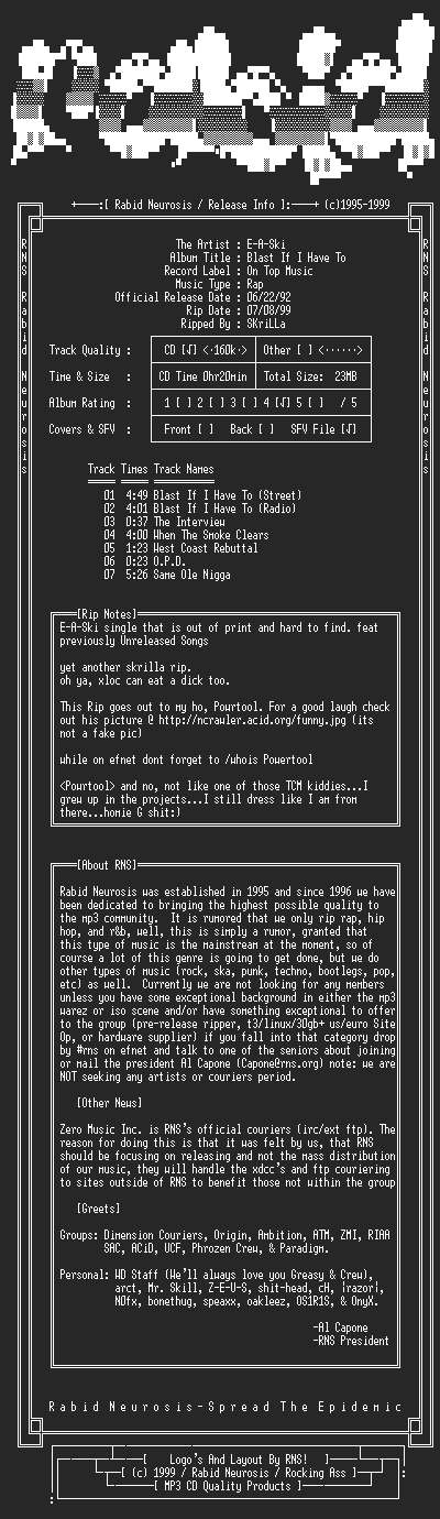 NFO file for E-A-Ski-Blast_If_I_Have_To-1995-RNS