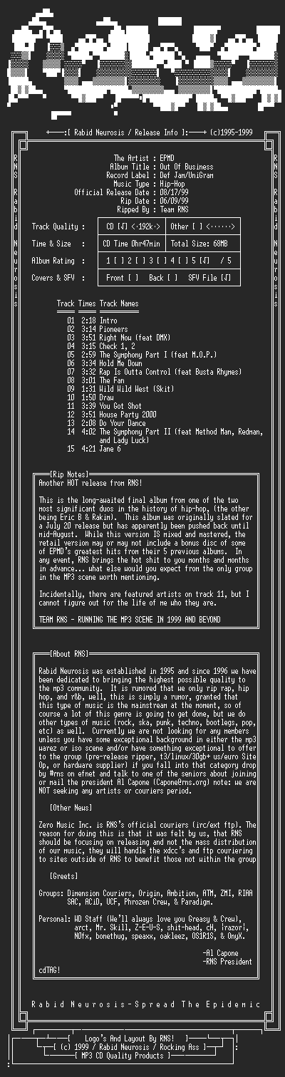 NFO file for EPMD-Out_Of_Business-1999-RNS