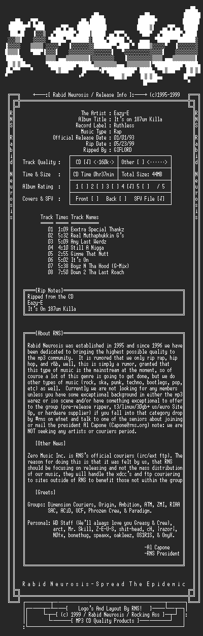NFO file for Eazy-E-Its_On_187um_Killa-1993-RNS