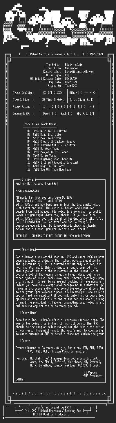 NFO file for Edwin_McCain-Messenger-1999-RNS