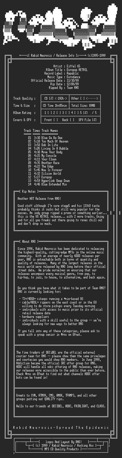 NFO file for Eiffel_65-Europop_RETAIL-1999-RNS