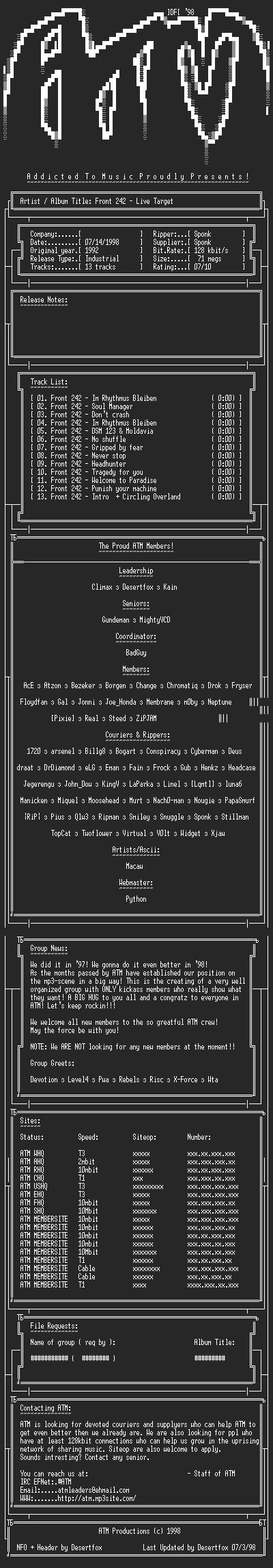 NFO file for Front_242_-_Live_Target_(1992)_-_ATM