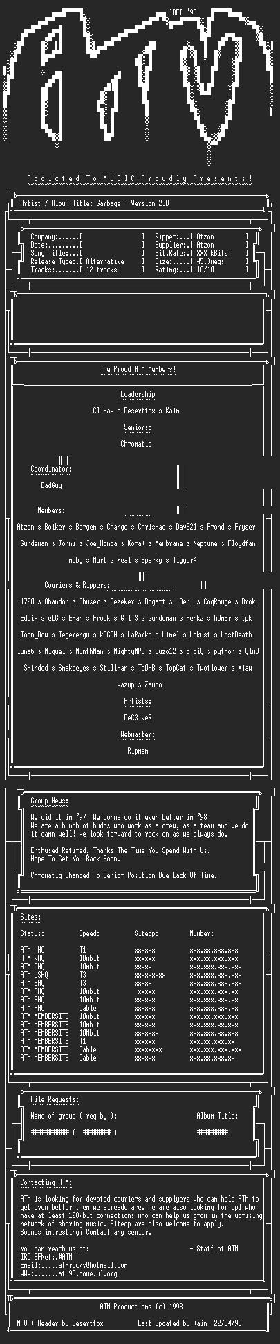 NFO file for Garbage-Version_2.0-ATM