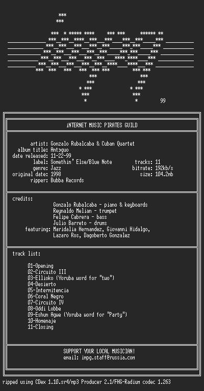 NFO file for Gonzalo.Rubalcaba.and.Cuban.Quartet--Antiguo-(1998)-iMPG