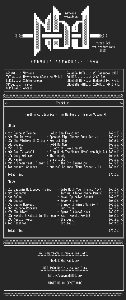 NFO file for Hardtrance_Classics-The_History_Of_Trance_Volume_4_SAMPLER_nbd