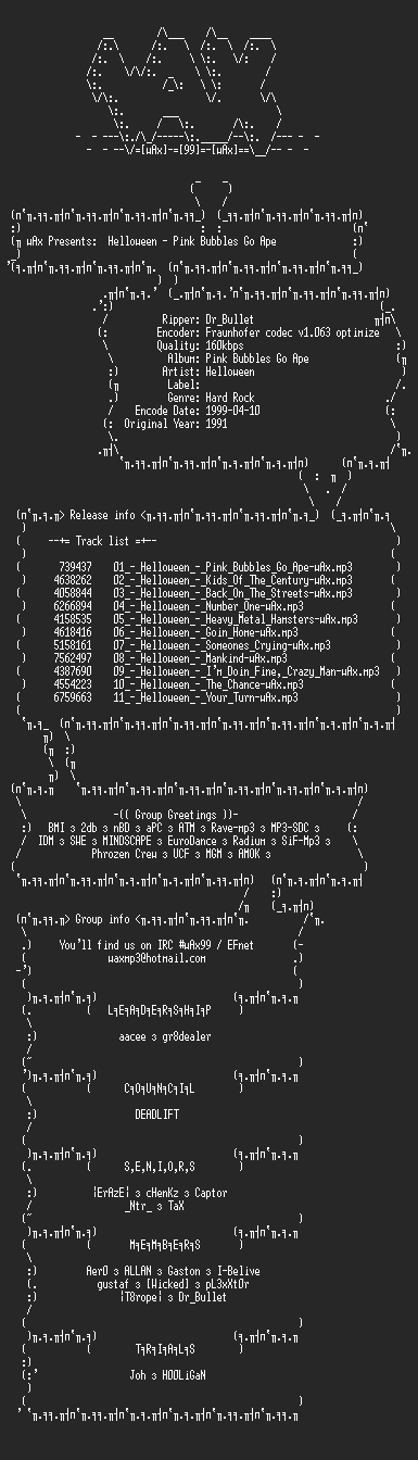 NFO file for Helloween_-_Pink_Bubbles_Go_Ape_(1991)-wAx