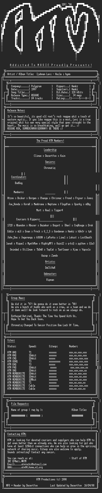 NFO file for Ijahman_Levi-Haile_I_Hymn_(1997)_-_ATM
