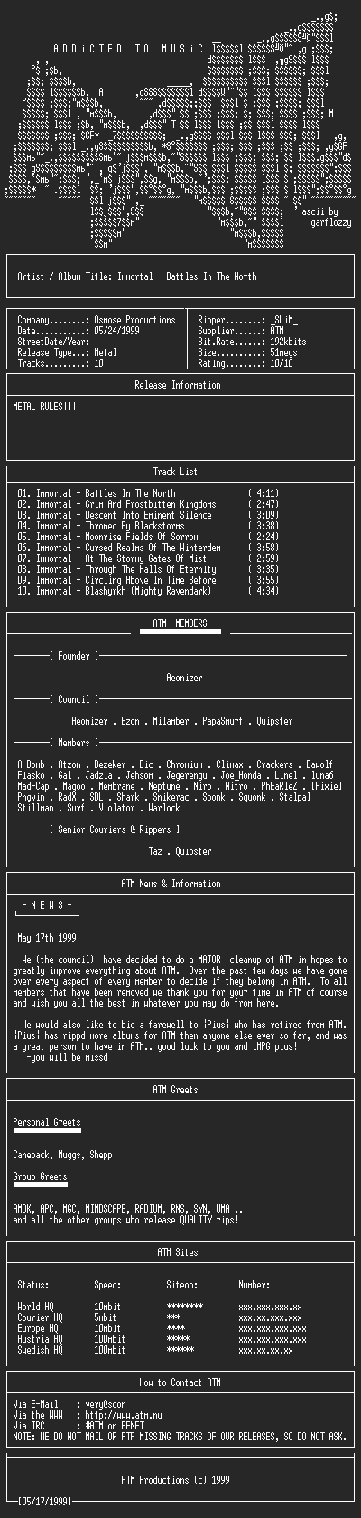 NFO file for Immortal_-_Battles_In_The_North-(1994)-ATM