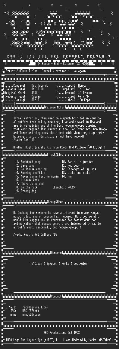 NFO file for Israel_Vibration_-_Live_Again_(1996_RAS)-RAC