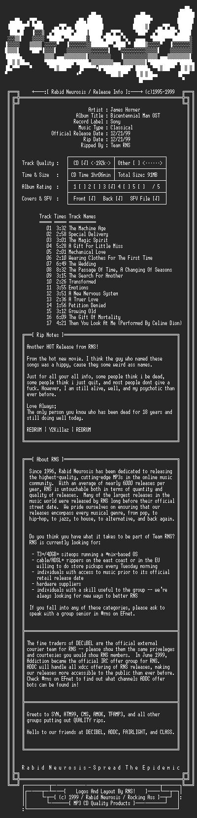 NFO file for James_Horner-Bicentennial_Man_OST-1999-RNS