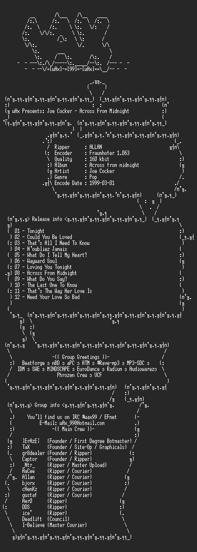 NFO file for Joe_Cocker_-_Across_From_Midnight(1997)-wAx
