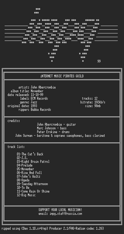 NFO file for John.Abercrombie--November-(1993)-iMPG
