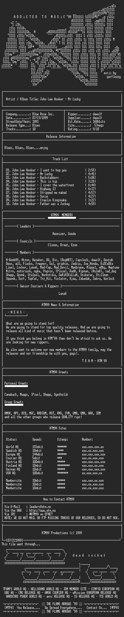 NFO file for John_Lee_Hooker_-_Mr_Lucky_-_(1991)-ATM99