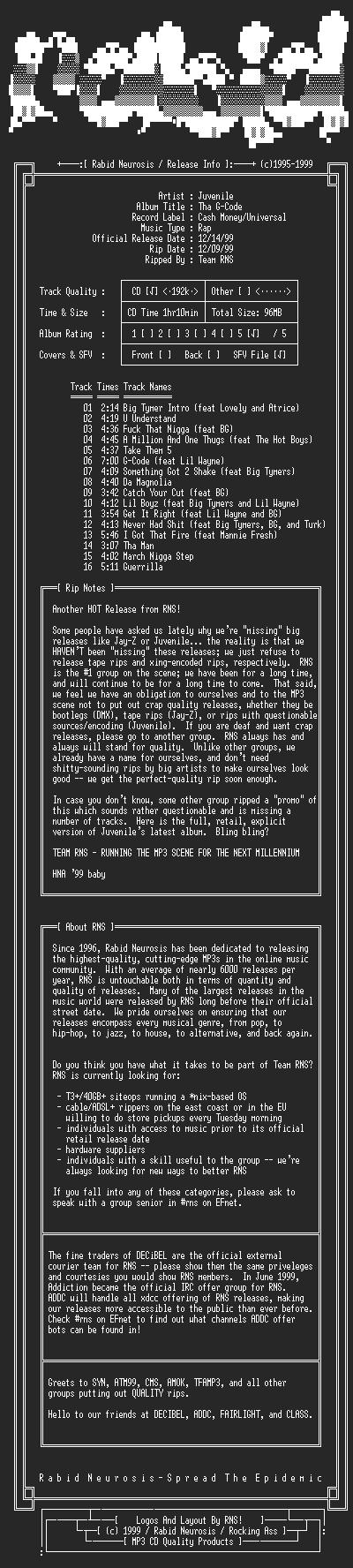 NFO file for Juvenile-Tha_G_Code-1999-RNS