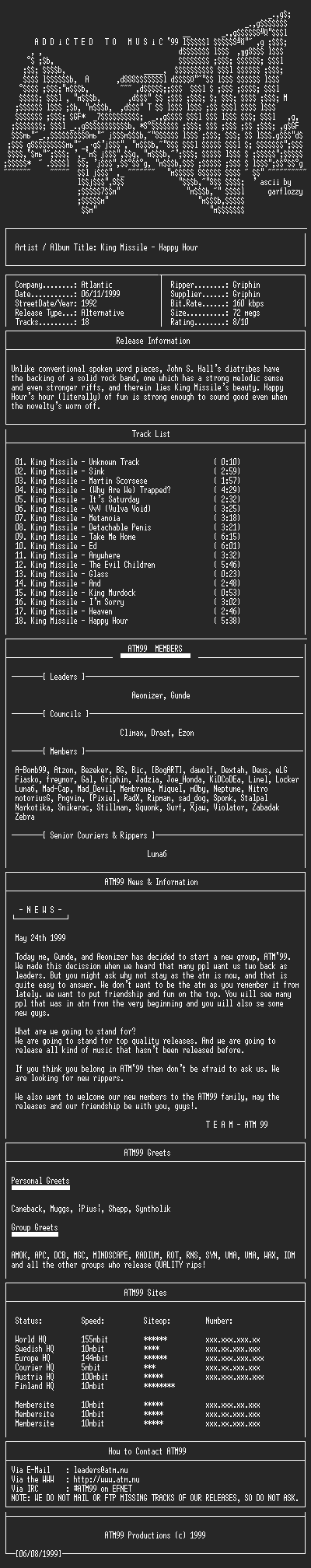 NFO file for King_Missile_-_Happy_Hour_-_(1992)-ATM99