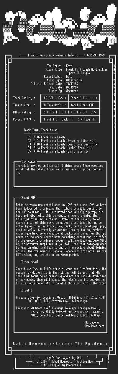 NFO file for Korn-Freak_On_A_Leash_Austrailian_Import_CD_Single-1999-RNS