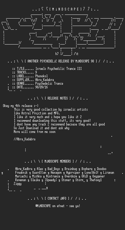 NFO file for Israels_Psychedilic_Trance_III-MindScape