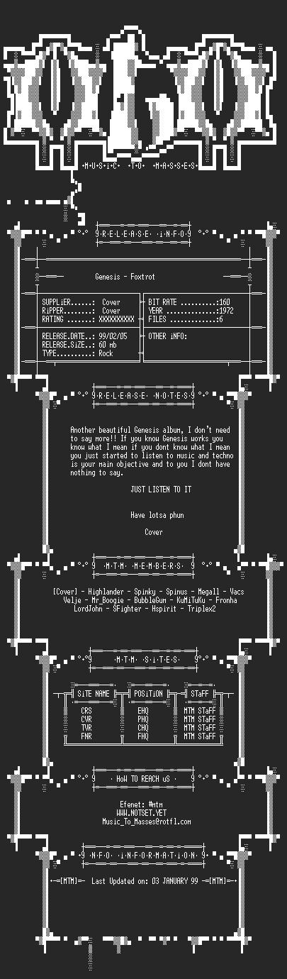 NFO file for Genesis_-_Foxtrot_(1972)_-_MTM