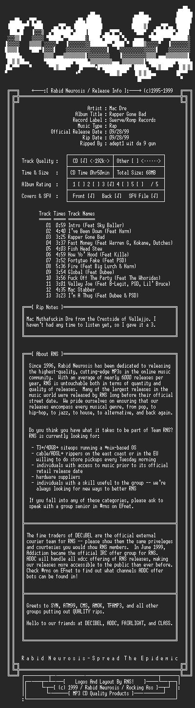 NFO file for Mac_Dre-Rapper_Gone_Bad-1999-RNS