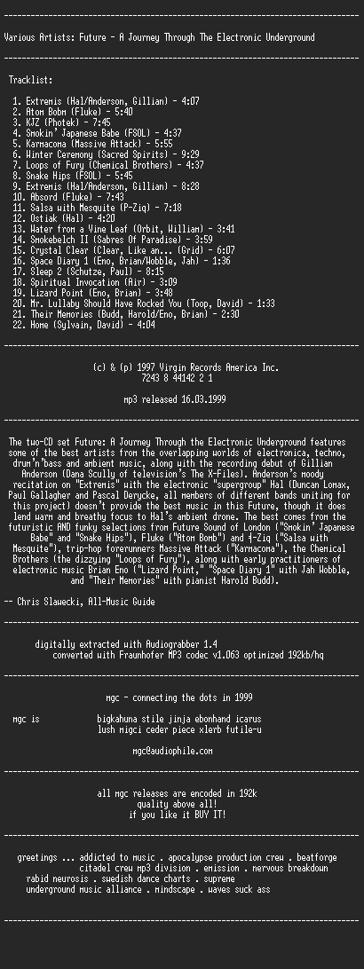 NFO file for Future-A_Journey_Through_The_Electronic_Underground_(1997)-MGC