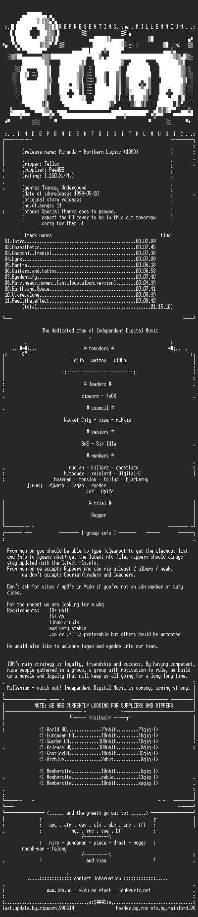 NFO file for Miranda_-_Northern_Lights-(1999)-IDM