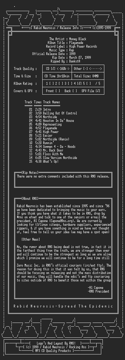 NFO file for Money_Black-Playamade-1999-RNS