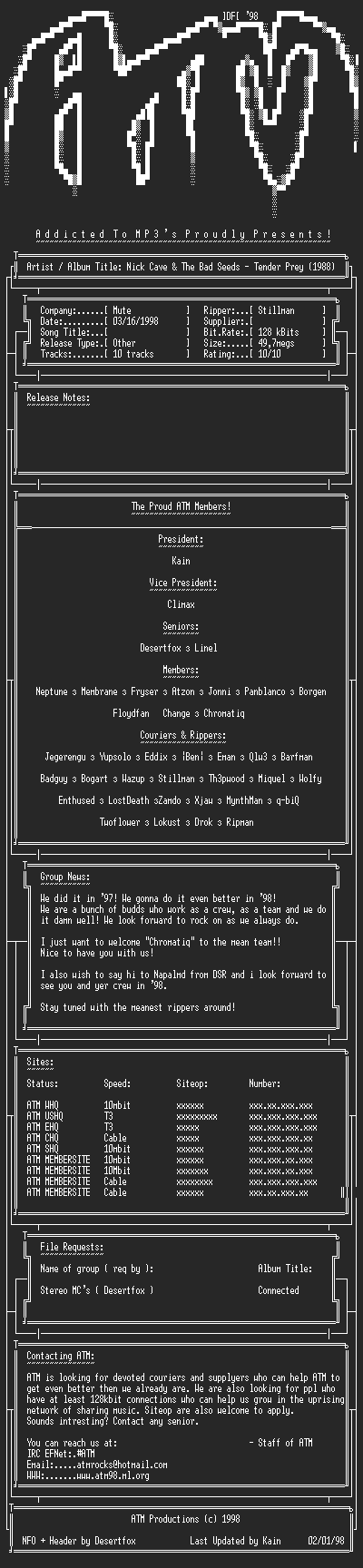 NFO file for Nick_Cave_&_The_Bad_Seeds_-_Tender_Prey_(1988)_-_ATM
