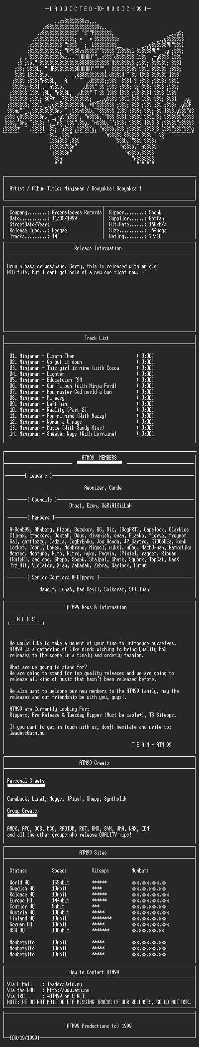 NFO file for Ninjaman_-_Booyakka!_Booyakka!!_(1994)_-_ATM99