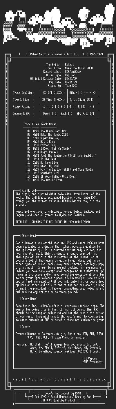 NFO file for Rahzel-Make_The_Music_2000-1999-RNS