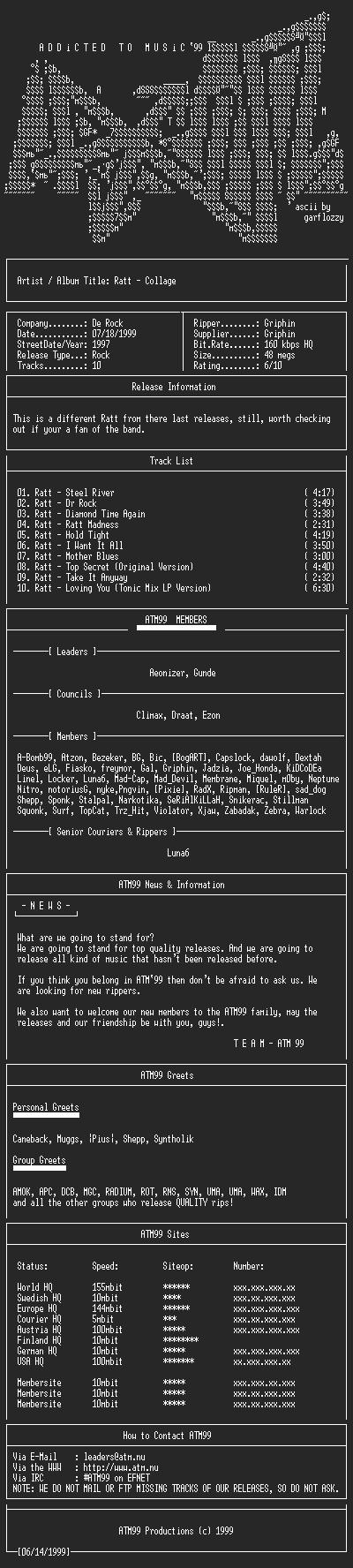NFO file for Ratt_-_Collage_-_(1997)-ATM99