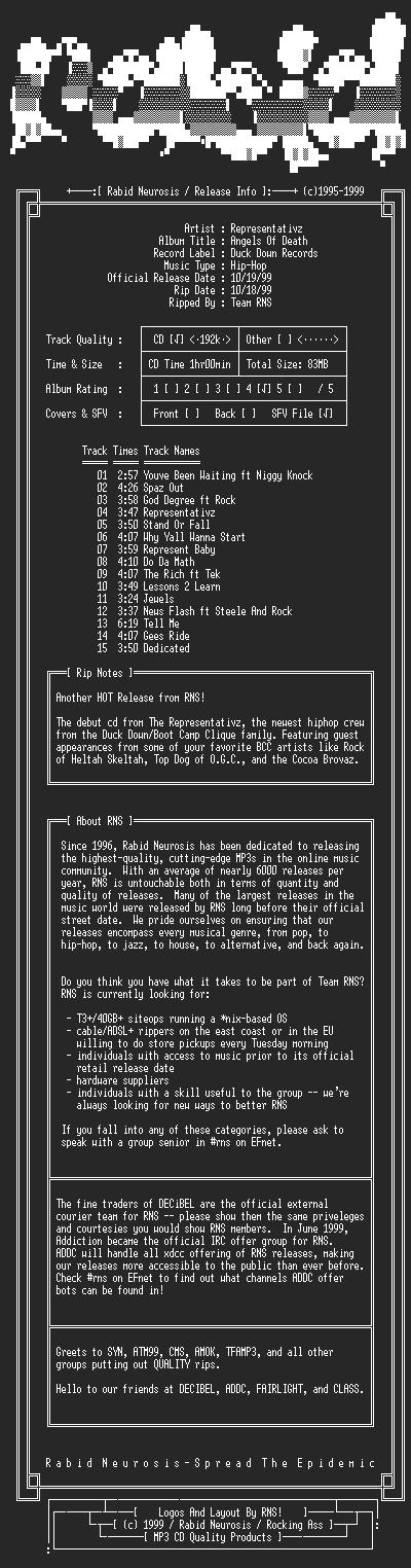 NFO file for Representativz-Angels_Of_Death-1999-RNS