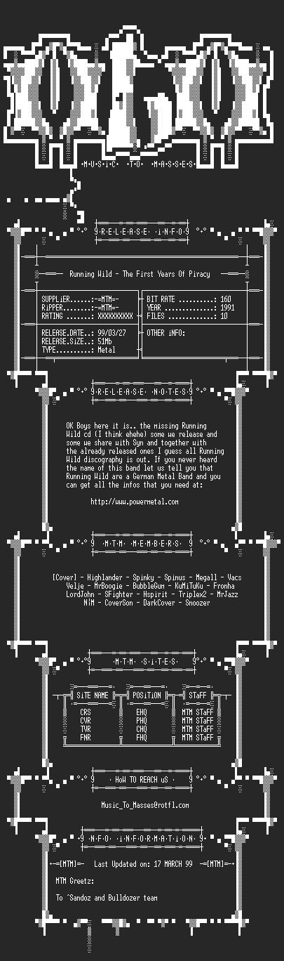 NFO file for Running_Wild_-_The_First_Years_Of_Piracy_(1991)_-_MTM