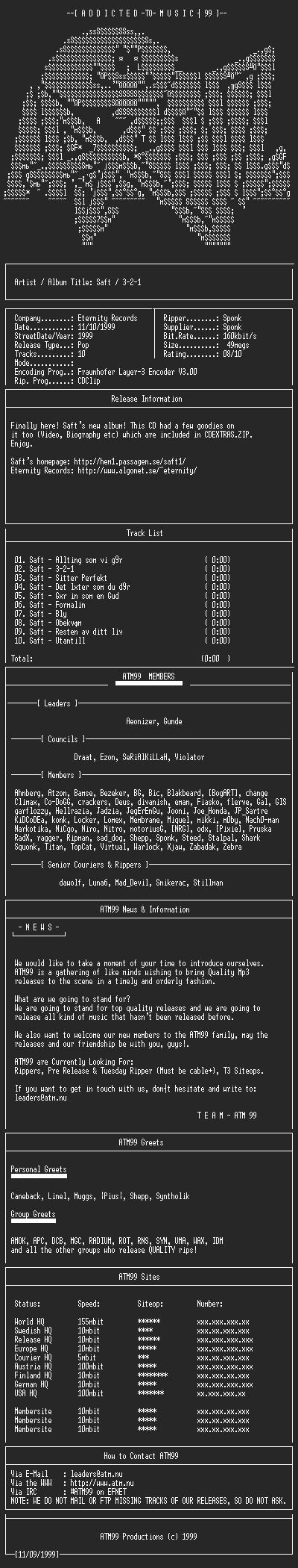 NFO file for Saft_-_3-2-1_(1999)_-_ATM99