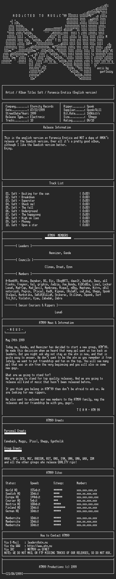 NFO file for Saft_-_Paranoia_Erotica_(1999)_-_ATM99