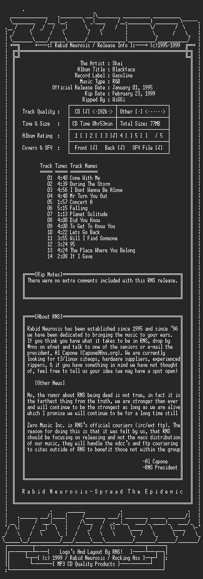 NFO file for Shai-Blackface-1995-RNS