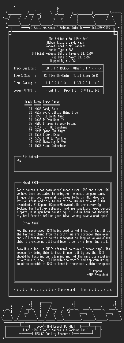 NFO file for Soul_For_Real-Candy_Rain-1994-RNS