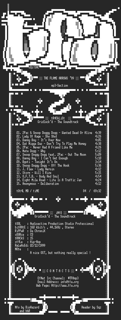 NFO file for Soundtrack_-_Gridlockd-TFA