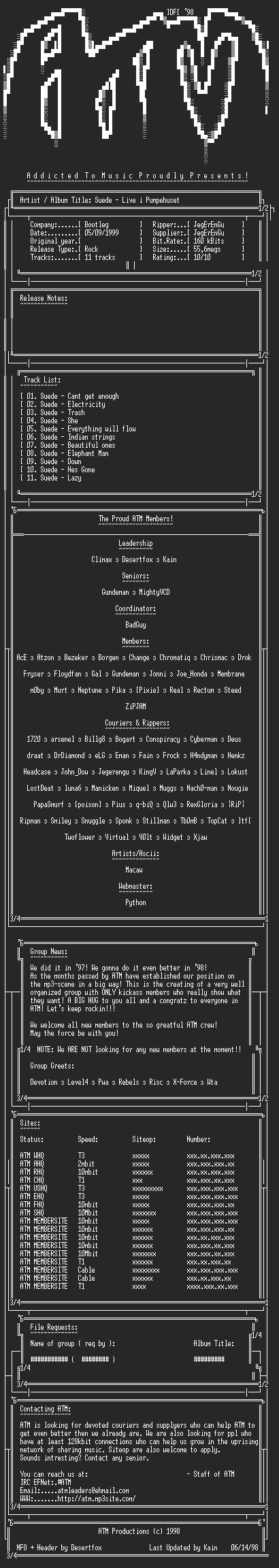 NFO file for Suede_-_Live_i_Pumpehuset_-_(1999)_-_ATM
