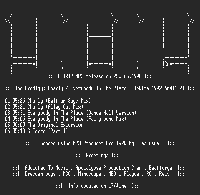 NFO file for The_Prodigy_-_Charly_-_Everybody_In_The_Place-TR1P