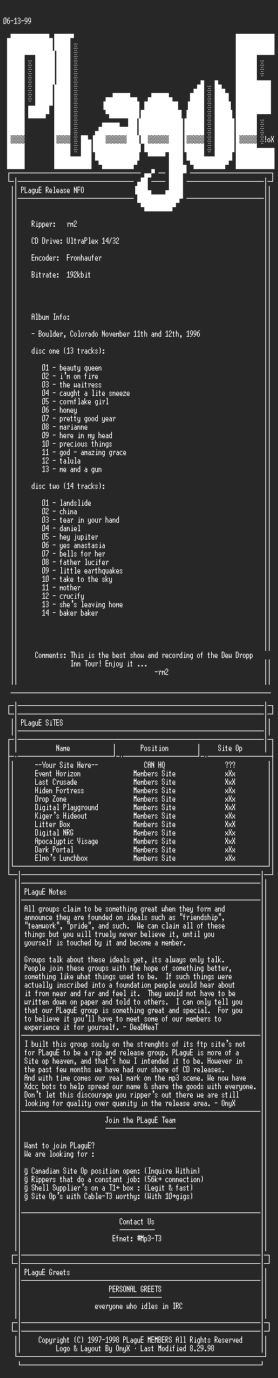 NFO file for Tori_Amos_-_DDI_Boulder-PLaguE