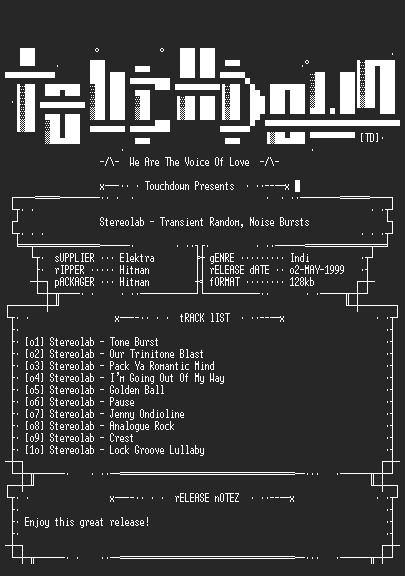 NFO file for Stereolab_-_Transient_Random_Noise_Bursts-TD