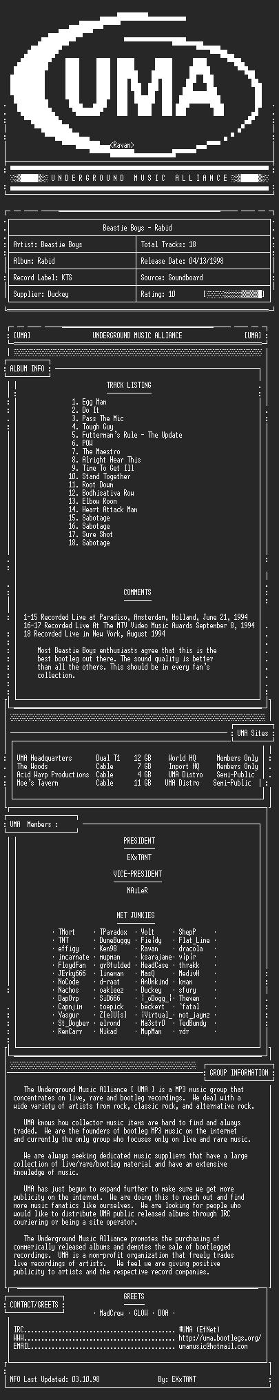 NFO file for Beastie_Boys-Rabid-UMA