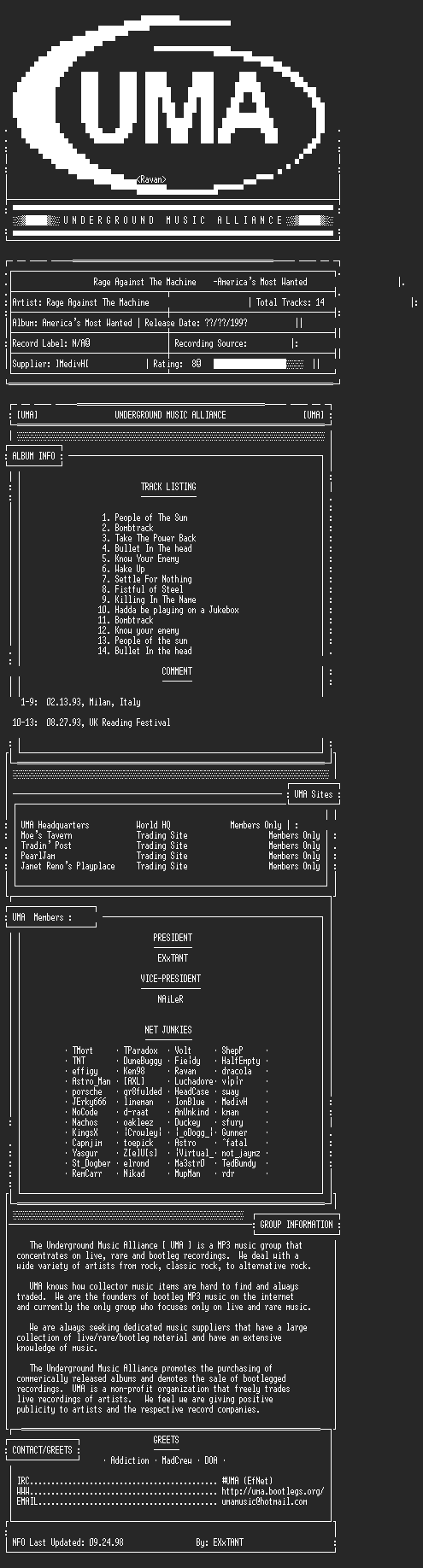 NFO file for Rage_Against_The_Machine-Americas_Most_Wanted-1993-UMA