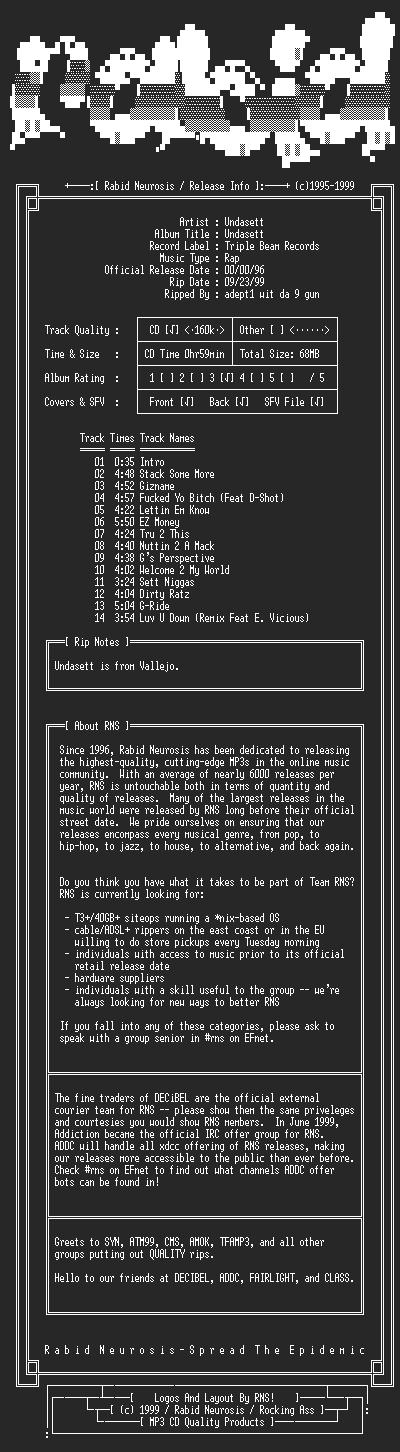 NFO file for Undasett-Undasett-1996-RNS