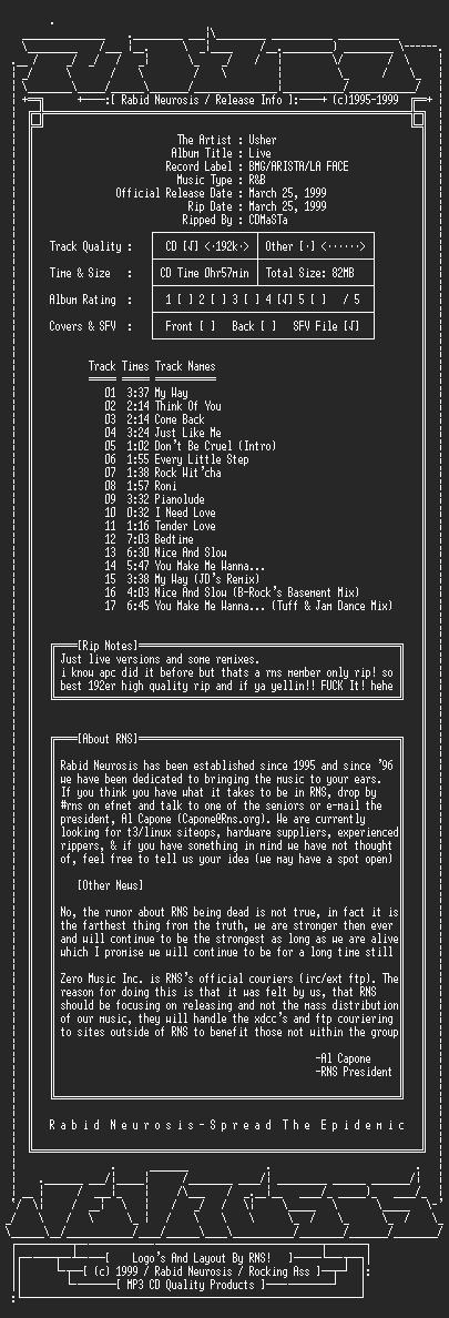 NFO file for Usher-Live-1999-RNS