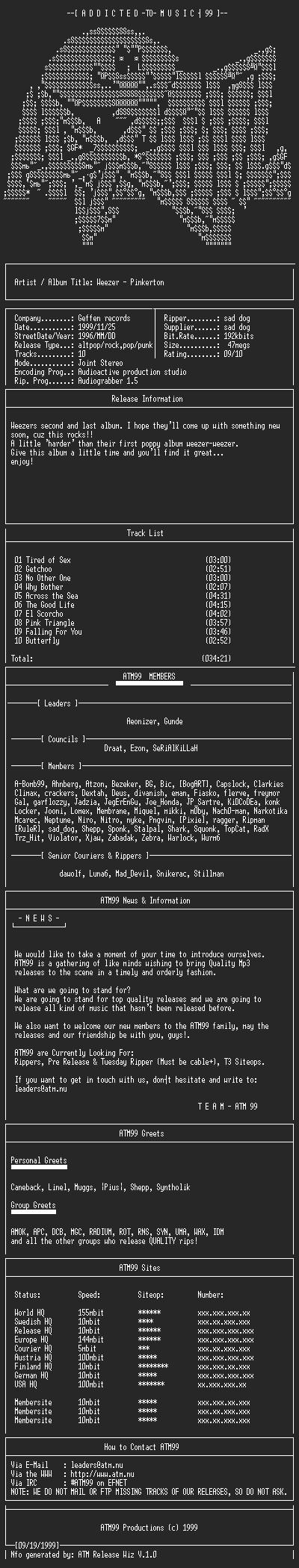 NFO file for Weezer_-_Pinkerton_-_(1996)-ATM99