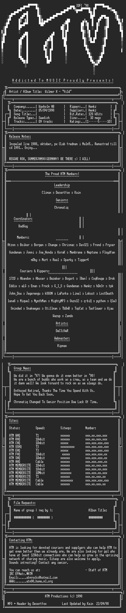 NFO file for Wilmer_X-Vild-ATM